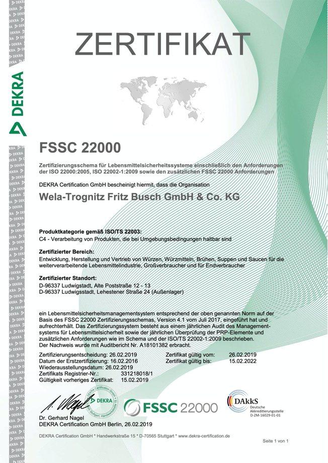 FSSC 22000 Suppen, Brühen, Soßen